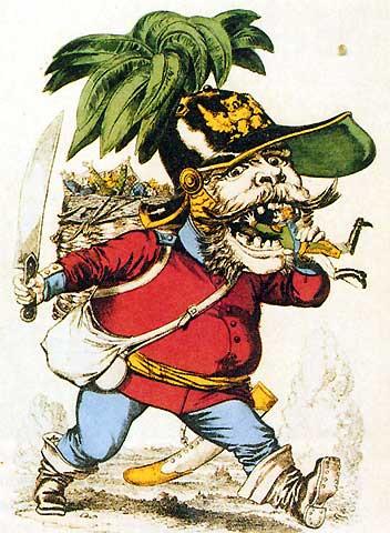 König Wilhelm I. als Menschenfresser - Karikatur Diese französische Karikatur zeigt den preußischen König Wilhelm I. als einen Menschenfresser, der sich die deutschen Kleinstaaten einverleibt, eine politische Entwicklung, die im Ausland nicht ohne Sorge beobachtet wird.