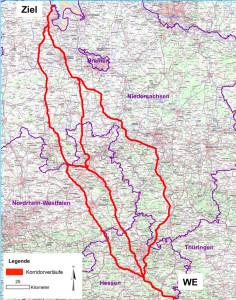 Alternative Trassen für die Salzabwasser-Fernleitung. Grafik: K&S