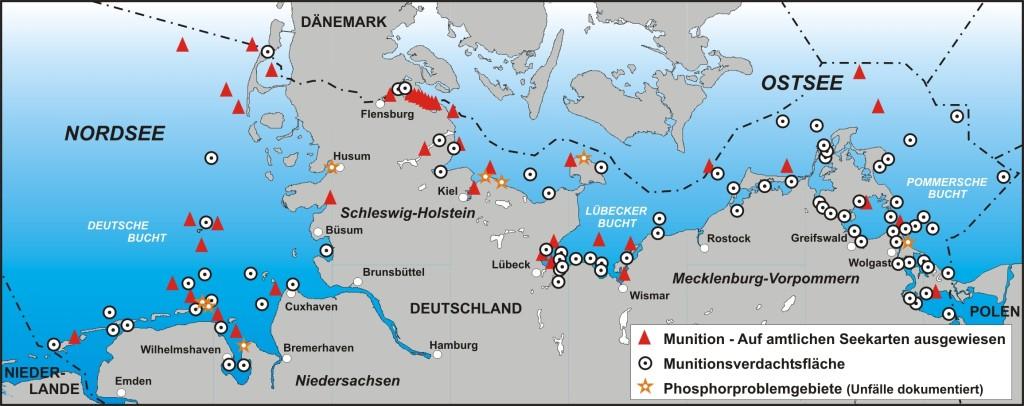 Munitions-Altlasten in Nord- und Ostsee. Quelle: Stefan Nehring