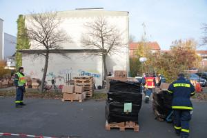 Umzug des Spenden-Lagers der Flüchtlingshilfe. Foto: Gegenwind