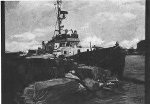 Wilhelmshaven, Schlepper an der Kaiser-Wilhelm-Brücke. Öl auf Leinwand 70x55cm