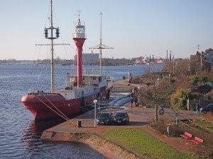 """Feuerschiff """"Weser"""" am Bontekai, Februar 2914. Foto: Gegenwind"""