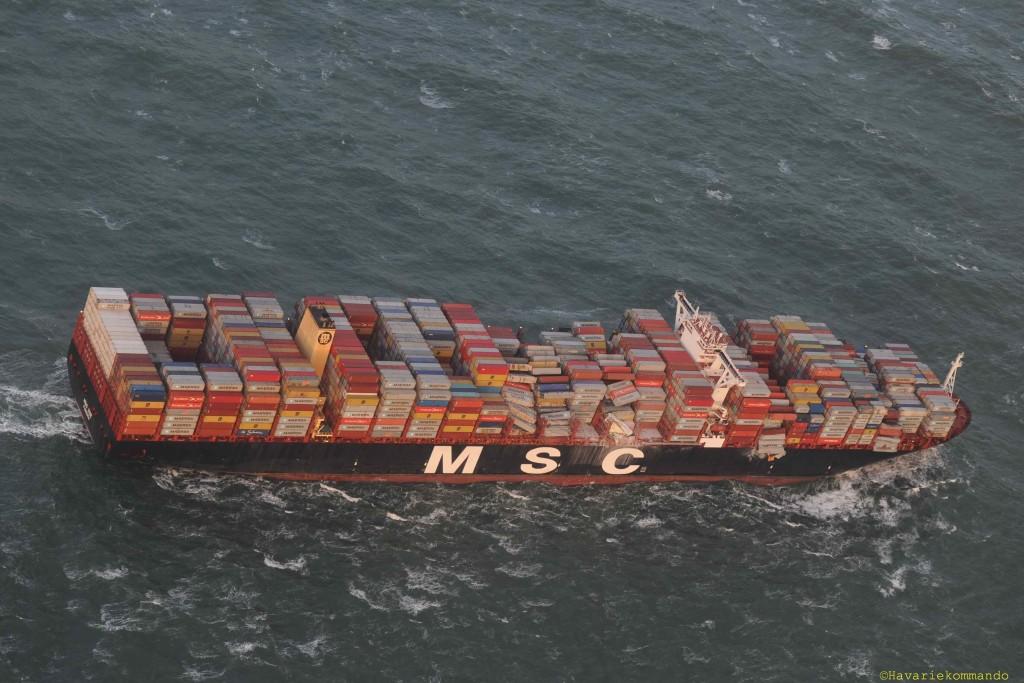MSC Zoe nach Containerverlust. Foto: Havariekommando