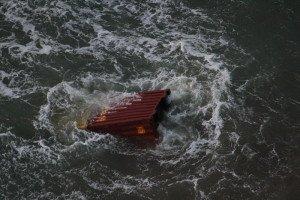 Über Bord gefallener Container der MSC Zoe. Foto: Havariekommando